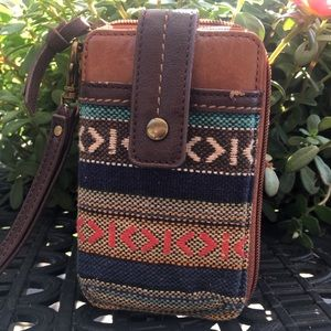 The Sak Wristlet Bohemian Aztec Brown Leather
